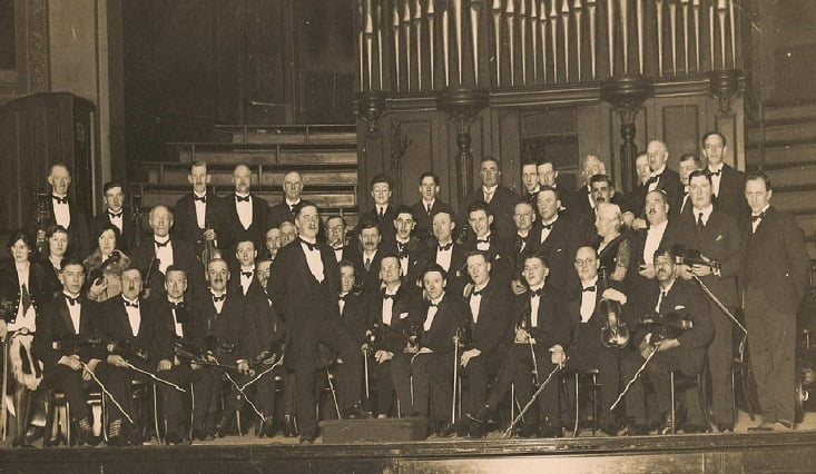 Aberdeen Strathspey and Reel Society pictured at Aberdeen Music Hall in November 1928
